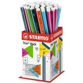 Grafitceruza display, HB, háromszögletű, vastag, STABILO