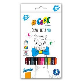 Színes ceruza készlet, háromszögletű, vastag, COOL BY VICTORIA, 12 különböző szín [12 db]