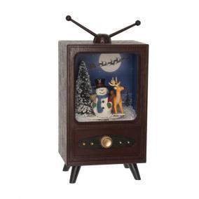 TV világító,havazó,zenélő elektromos/elemes műanyag 14 cm x 10 cm x 24 cm mahagóni