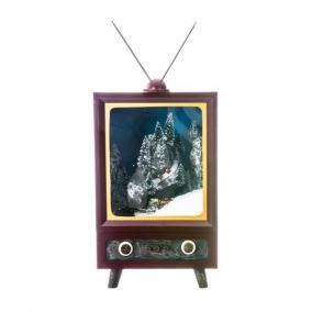 TV világító,havazó,zenélő-elektromos fa 26cm x28cm x42cm sznes