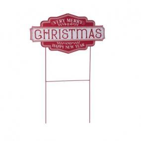 Tábla Merry Chritmas felírattal betűzős bádog 58 cm x 27 cm x 94 cm piros