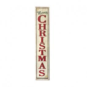 Tábla Merry Chritmas felírattal fa 123 cm x 27 cm x 18 cm fehér,piros