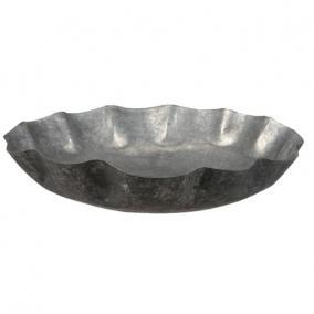 Tál kerek fém 37cm x7,5 cm szürke