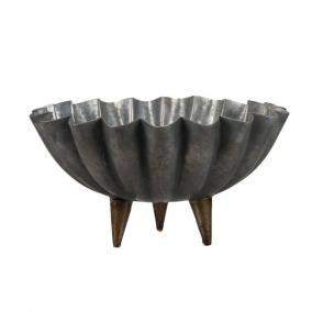 Tál kerek lábbal fém 24x14 cm szürke