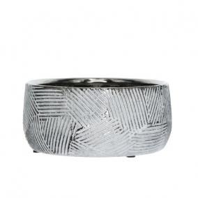 Tál mintás kerámia 14,5 cm x 14,5 cm x 7 cm fehér,ezüst