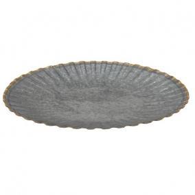 Tálca kerek fém 34,5cm x4 cm szürke