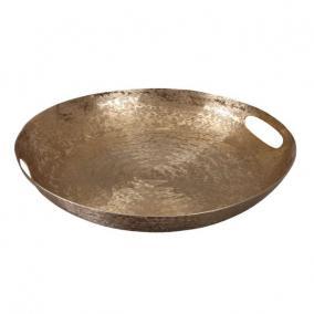 Tálca kerek füllel alumínium 36 cm x 5 cm arany
