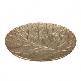 Tálca kerek levél mintával alumínium 14 cm x 3 cm arany