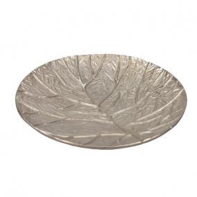 Tálca kerek levél mintával alumínium 19 cm x 3 cm ezüst