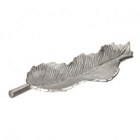 Tálca levél alakú aluminium 47cm x 15cm ezüst