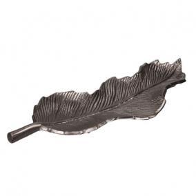 Tálca levél alakú aluminium 47cm x15cm fekete ezüst