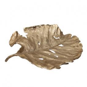 Tálca levél alakú fém 47 cm x 41 cm x 9 cm arany