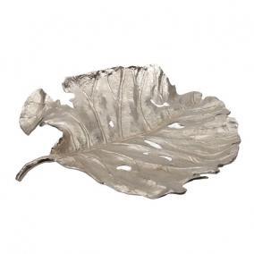 Tálca levél alakú fém 47 cm x 41 cm x 9 cm ezüst