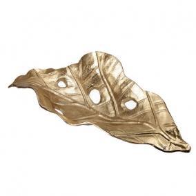 Tálca levél alakú fém 51 cm x 20 cm x 13 cm arany
