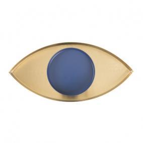 Tálca, szem formájú, fém 28,7x14x2 arany, kék