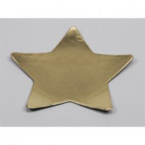 Tányér csillag műanyag 28x28cm arany