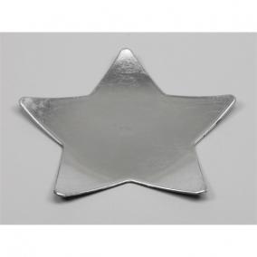 Tányér csillag műanyag 28x28cm ezüst