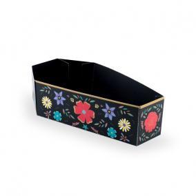 Tároló doboz koporsó formájú virág mintás papír 8x15x4 cm fekete [6 db]