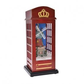 Telefonfülke világító, havazó, zenélő műanyag 15 cm x 15 cm x 34,5 cm barna