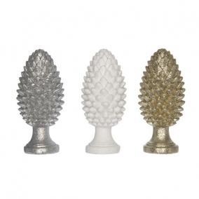 Toboz álló glitteres poly 5,2 cm x 5,2 cm x 11,5 cm fehér,arany,ezüst 3 féle
