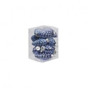 Toboz üveg 6cm kék fényes-matt [12 db]