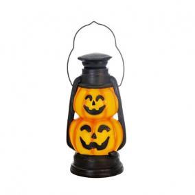 Tök lámpás dupla fogantyúval LEDes elemes poly 15x14x29,2 cm narancs, fekete