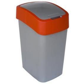 Billenős szelektív hulladékgyűjtő, műanyag, 50 l, CURVER, piros/szürke