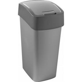 Billenős szelektív hulladékgyűjtő, műanyag, 50 l, CURVER, szürke/szürke