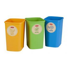 Szelektív hulladékgyűjtő szemetes, műanyag, 3x9 liter, CURVER
