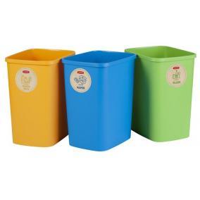 Szelektív hulladékgyűjtő szemetes, műanyag, 3x25 liter, CURVER