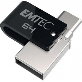 Pendrive, 64GB, USB 3.2, USB-A bemenet/USB-C kimenet, EMTEC