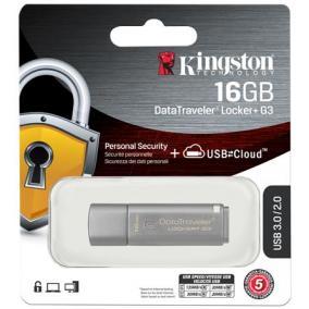 Pendrive, 16GB, USB 3.0, jelszavas védelemmel, KINGSTON