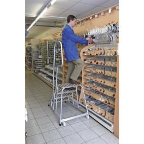 Szerelődobogó, 4 lépcsőfokos, alumínium, gurítható, KRAUSE