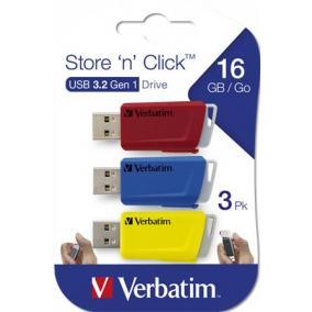 Pendrive, 3 x 16GB, USB 3.2, 80/25MB/sec, VERBATIM