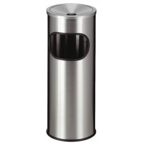 Tűzálló szemetes, rozsdamentes acél, hamutartóval kombinált, VEPA BINS, ezüst