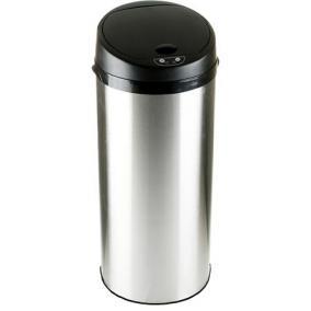 Szenzoros szemetes, rozsdamentes acél, kör alakú, 50 l, ezüst-fekete