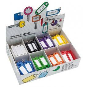 Kulcscímke display 200 db, S -akasztóval, WEDO, 8 különböző színben [200 db]