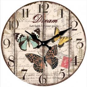 Üveg óra kerek üveg 30cm pillangós