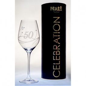 Üveg pohár swarovski dísszel bor 360ml Celebration 50yr