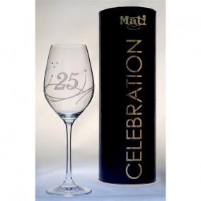 Üveg pohár swarovski dísszel bor 360ml Celebration 25yr