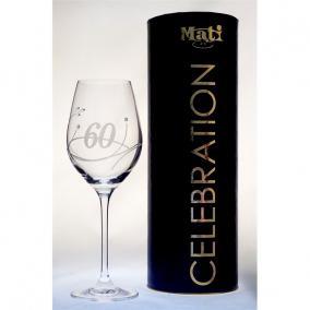 Üveg pohár swarovski dísszel bor 360ml Celebration 60yr