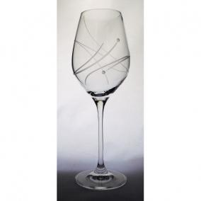 Üveg pohár swarovski dísszel bor 360ml átlátszó I (2db/csom)