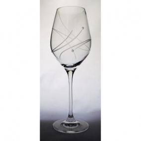 Üveg pohár swarovski dísszel bor 360ml átlátszó [6 db]