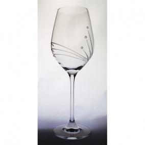Üveg pohár swarovski dísszel bor 360ml átlátszó I (6db/csom)