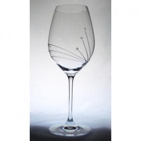 Üveg pohár swarovski dísszel bor 470ml átlátszó I (6db/csom)