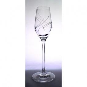Üveg pohár swarovski dísszel pálinka 95ml átlátszó (6db/csom)