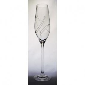 Üveg pohár swarovski dísszel pezsgő 210ml átlátszó I (6db/csom)