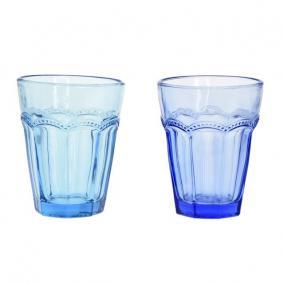 Üveg pohár színes 8,5x5x11cm kék, türkisz [1 db]