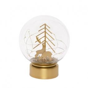 Üveggömb szarvassal üveg, fém, LEDes, elemes 15cm x 18 cm arany