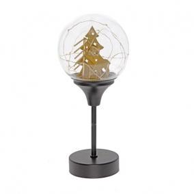 Üveggömb talpas fém, LEDes, elemes 13cm x 30 cm fekete